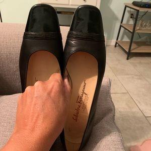 Salvatore Ferragamo Black Leather Low Heel.